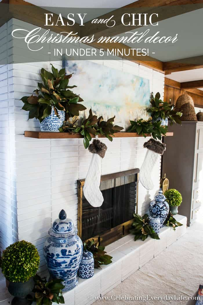 5 minute Easy Christmas Mantel Decor | Celebrating Everyday Life with Jennifer Carroll | www.CelebratingEverydayLife.com