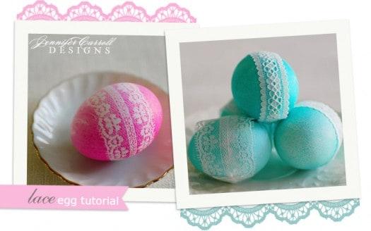 Lace Dyed Easter Eggs | Celebrating Everyday Life with Jennifer Carroll | www.CelebratingEverydayLife.com