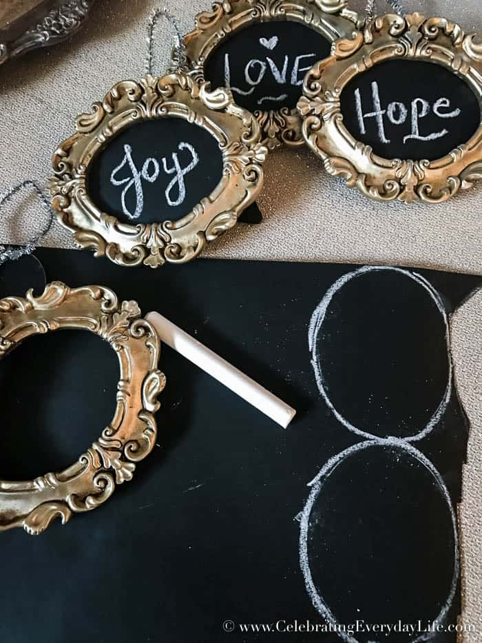 How to Make a Framed Chalkboard Ornament | Celebrating Everyday Life with Jennifer Carroll | CelebratingEverydayLife.com