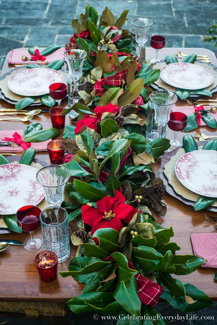 DIY Magnolia Leaf and Red Poinsettia Garland Christmas table, Celebrating Everyday Life with Jennifer Carroll, www.CelebratingEverydayLife.com