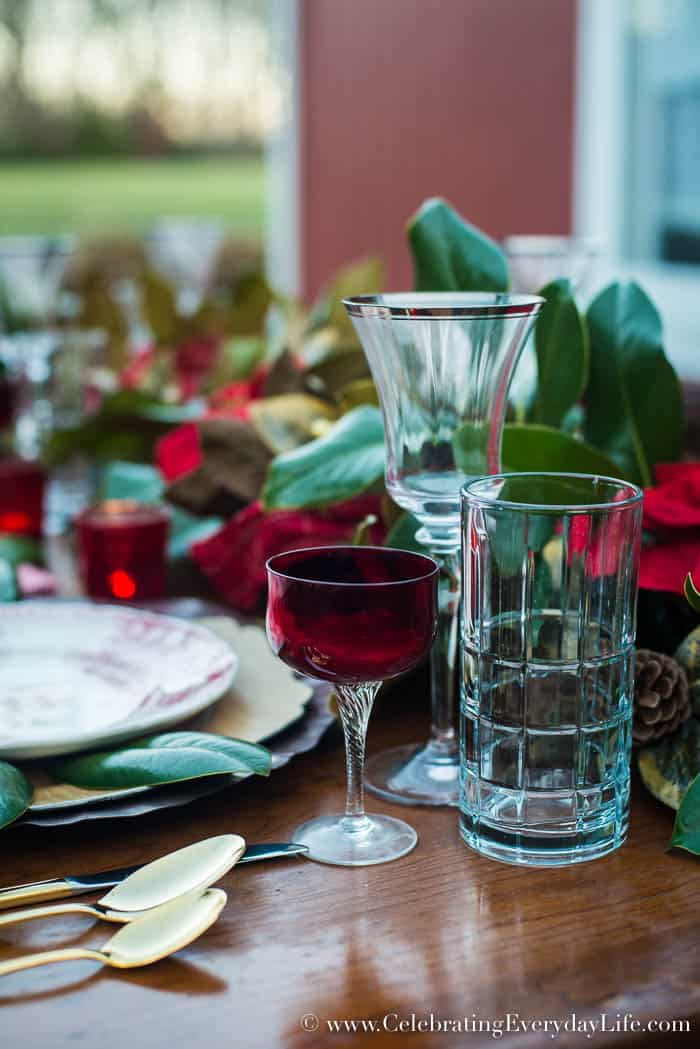 Red glassware for a Christmas table, Celebrating Everyday Life with Jennifer Carroll, www.CelebratingEverydayLife.com