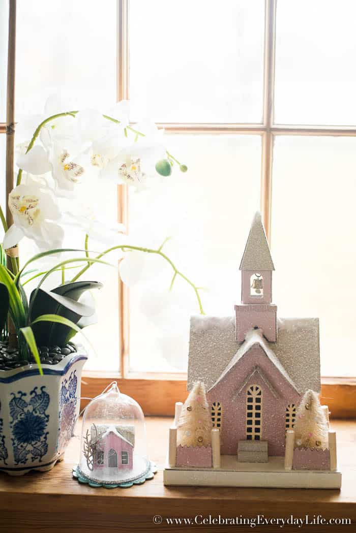 Pink Paper Church Christmas Decorating Ideas | Celebrating Everyday Life with Jennifer Carroll | www.CelebratingEverydayLife.com