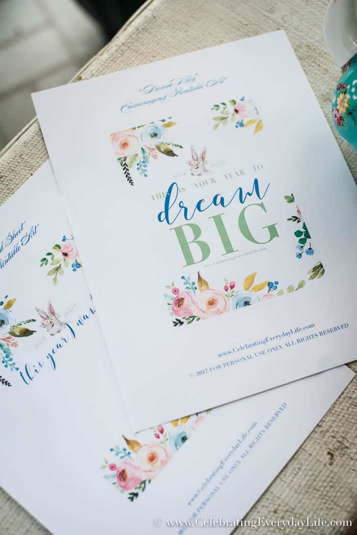 Let's Set Goals and Plan to Dream BIG for 2017 + printables   Celebrating Everyday Life with Jennifer Carroll   www.CelebratingEverydayLife.com