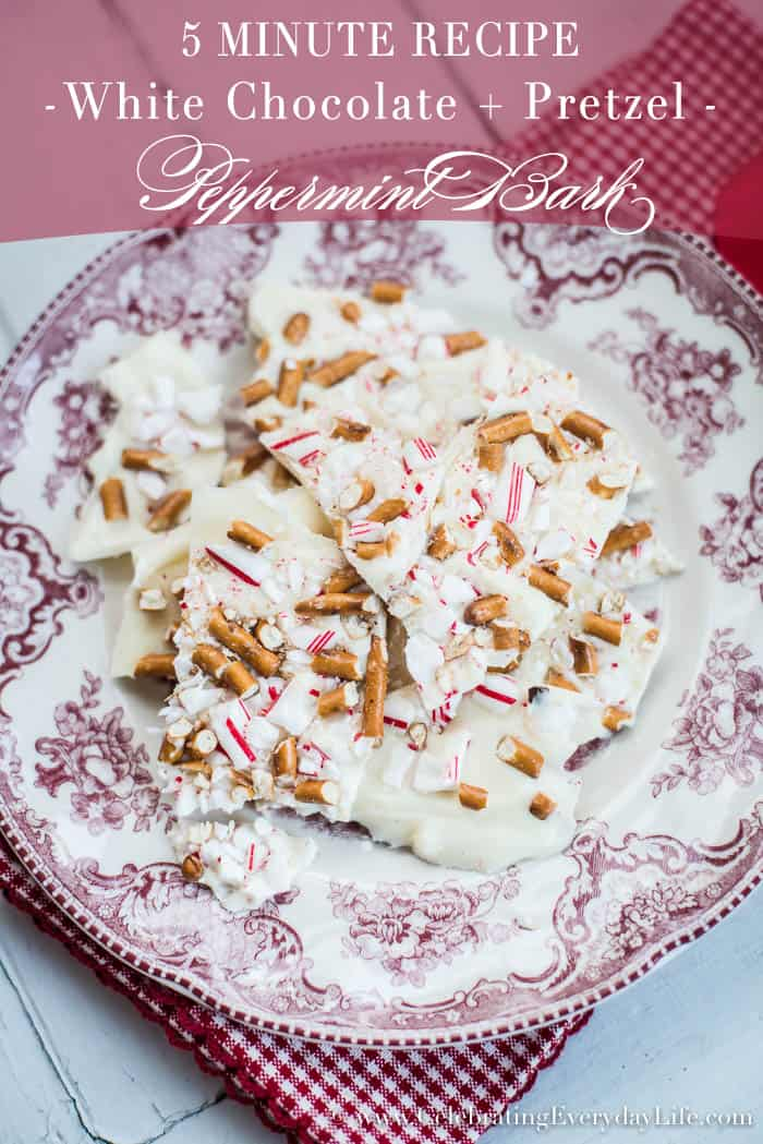 5 minute White Chocolate and Pretzel Peppermint Bark | Celebrating Everyday Life | www.CelebratingEverydayLife.com
