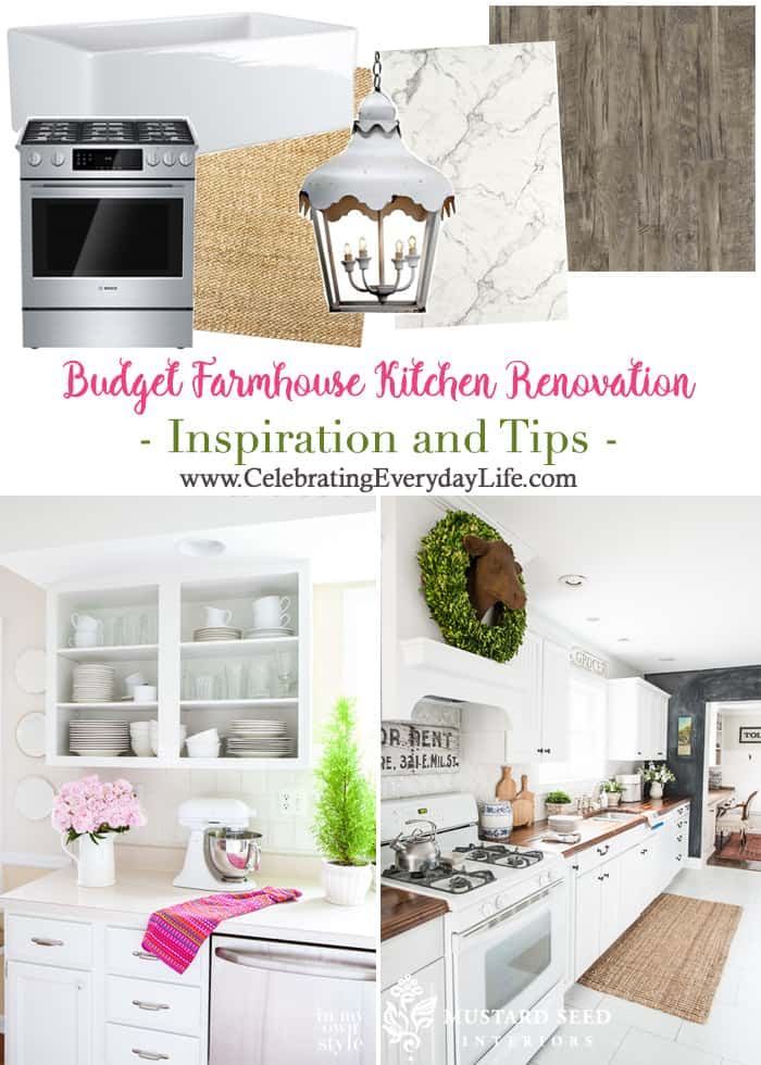 Budget Farmhouse Kitchen Renovation Inspiration and Tips | Celebrating Everyday Life with Jennifer Carroll | www.CelebratingEverydayLife.com