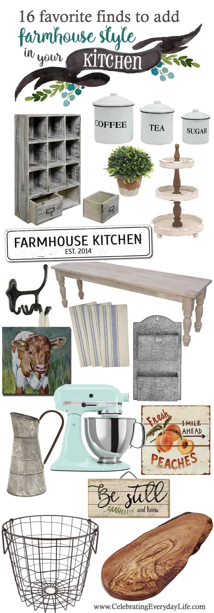 Favorite Farmhouse Kitchen Finds | Celebrating Everyday Life with Jennifer Carroll | www.CelebratingEverydayLife.com