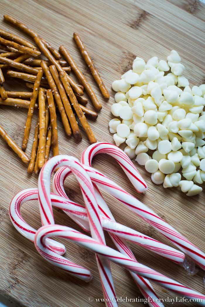 3 simple ingredients for White Chocolate and Pretzel Peppermint Bark | Celebrating Everyday Life | www.CelebratingEverydayLife.com