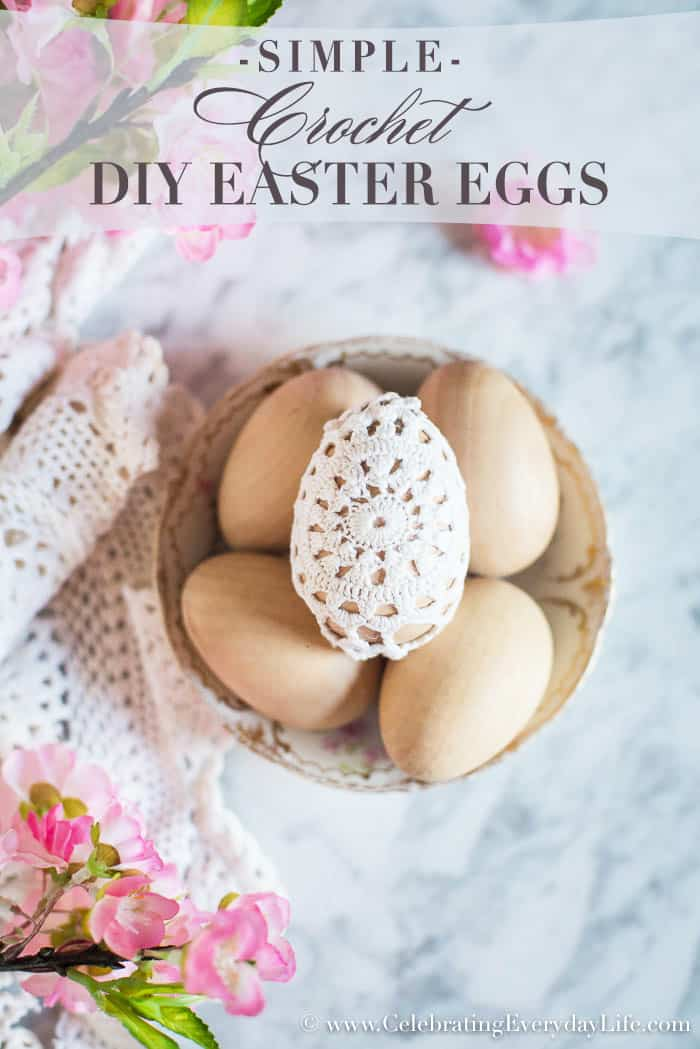 Easy Easter Decor, 5 minute Easter Decoration, Crochet Easter Eggs, Shabby Chic Easter Eggs