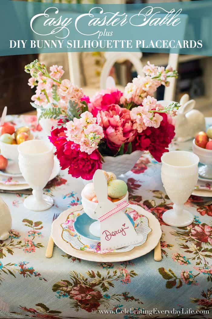 Create this Easy Easter Table with DIY Bunny Sihouette Place Cards | CelebratingEverydayLife.com