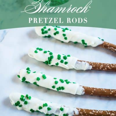 Easy White Chocolate Shamrock Pretzel Rods