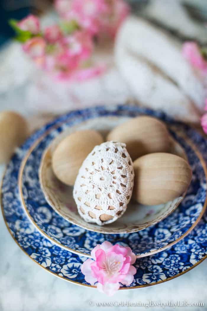 Easy Easter Decor, 5 minute Easter Decoration, Crochet Easter Eggs, Shabby Chic Easter Eggs