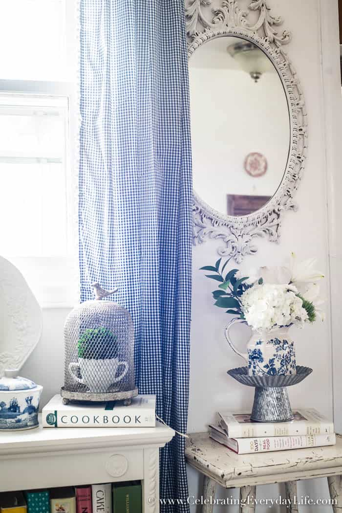 Easily create a Blue and White Kitchen Bookshelf Vignette, Celebrating Everyday Life with Jennifer Carroll