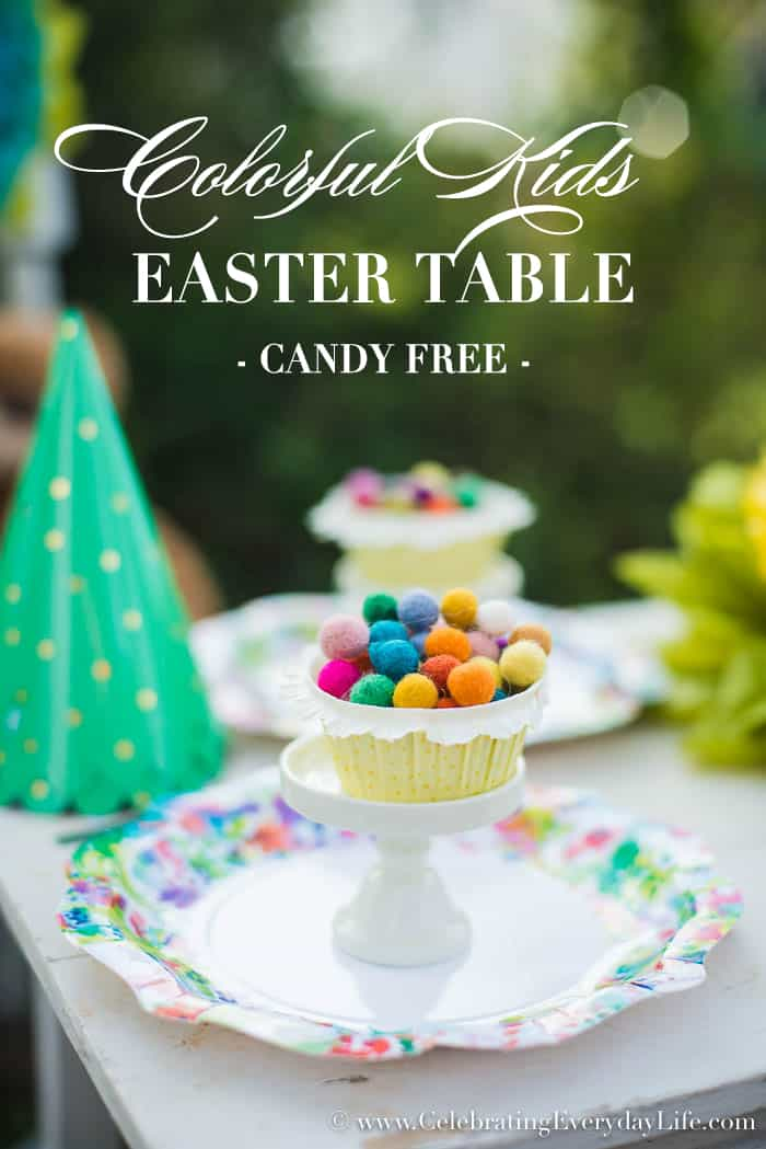 Set an Easy and Colorful Kids Easter table that's candy free!