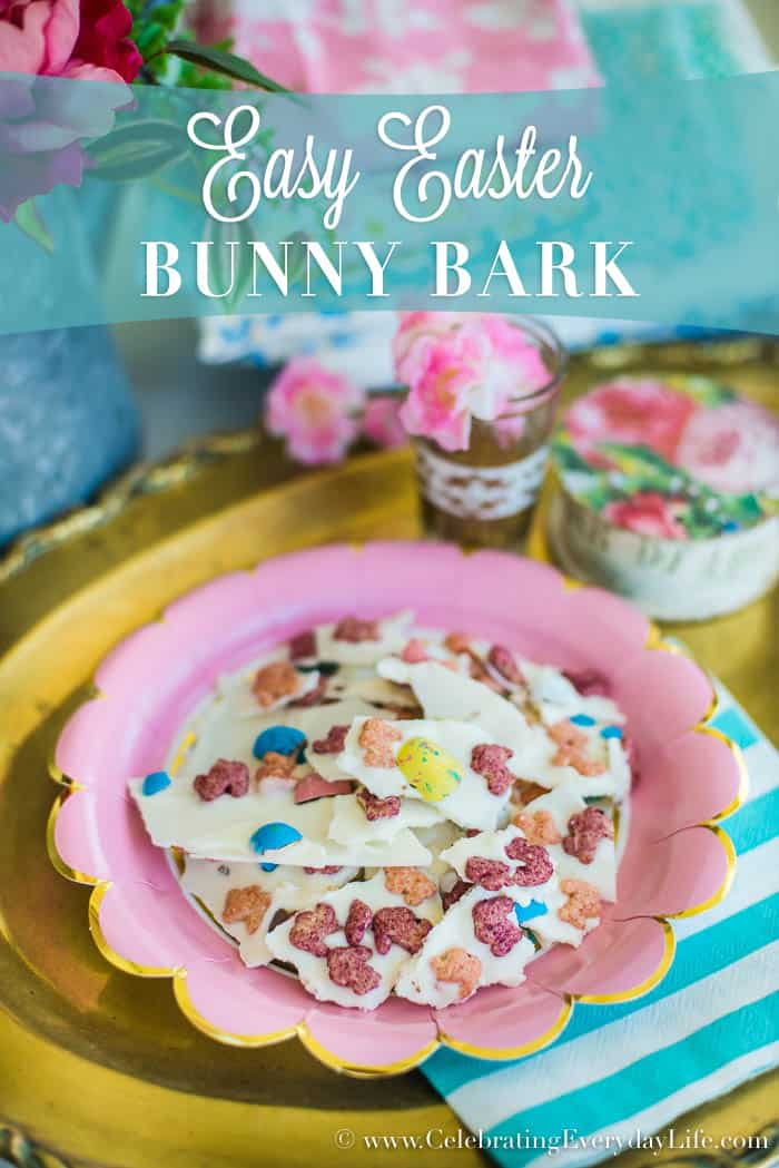 Need a lazy but adorable Easter treat? Then you've got to try this super simple Easter dessert treat! Easy Easter Bunny Bark recipe