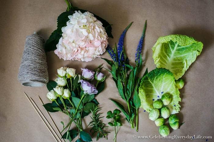DIY Easter Cabbage Arrangement, Easy Easter Centerpiece