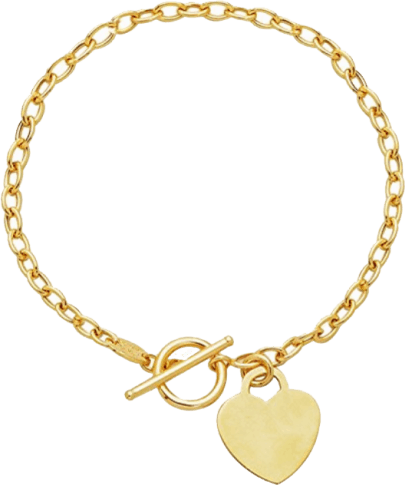 Solid Gold Bracelet with Heart Charm