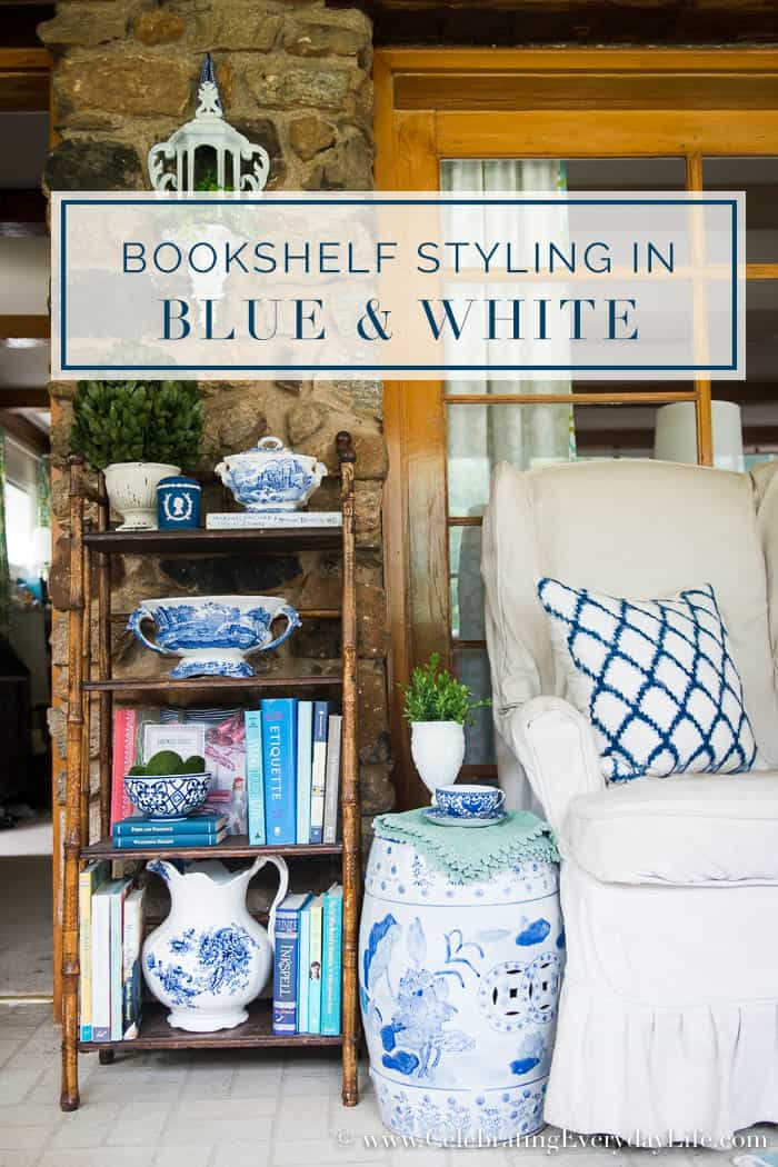 Adding a bit of summer lightness and brightness with this Bookshelf Styling in Blue & White