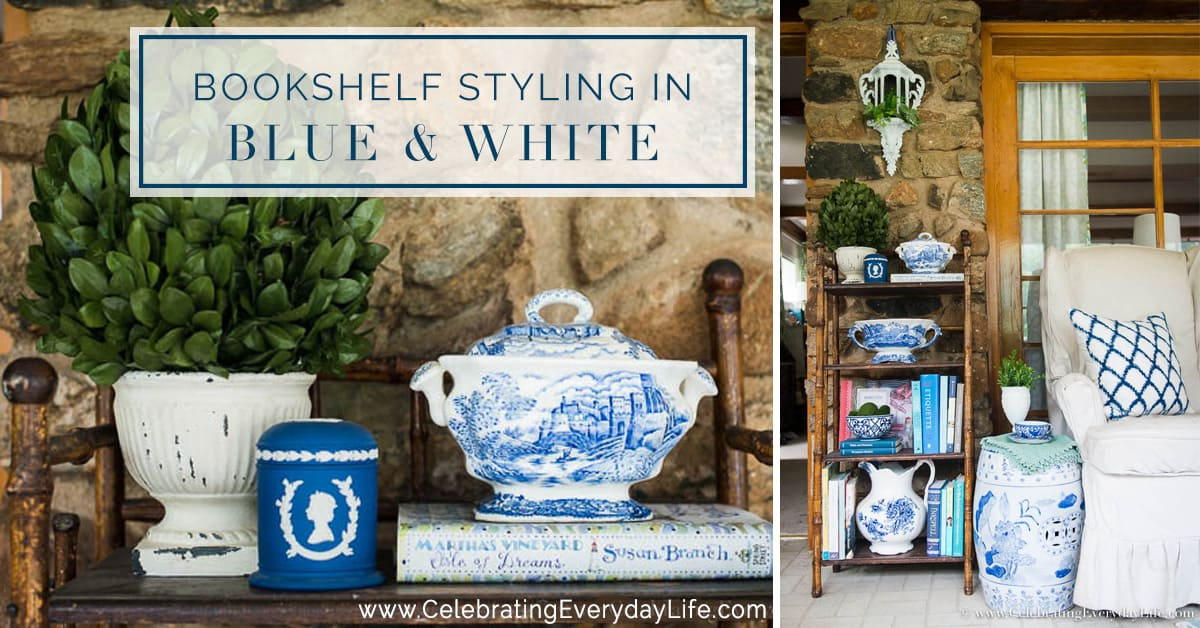 Add a bit of summer lightness and brightness with this Bookshelf Styling in Blue & White tutorial!