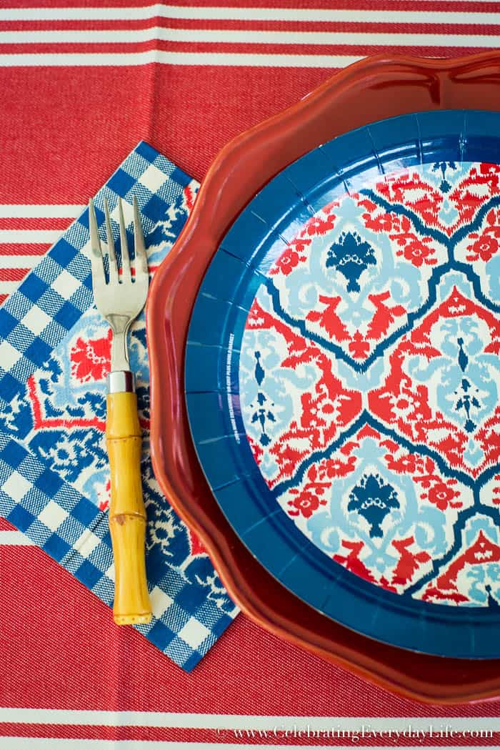 Celebrate an Easy and Awesome 4th of July with this Ralph Lauren inspired red white and blue table!