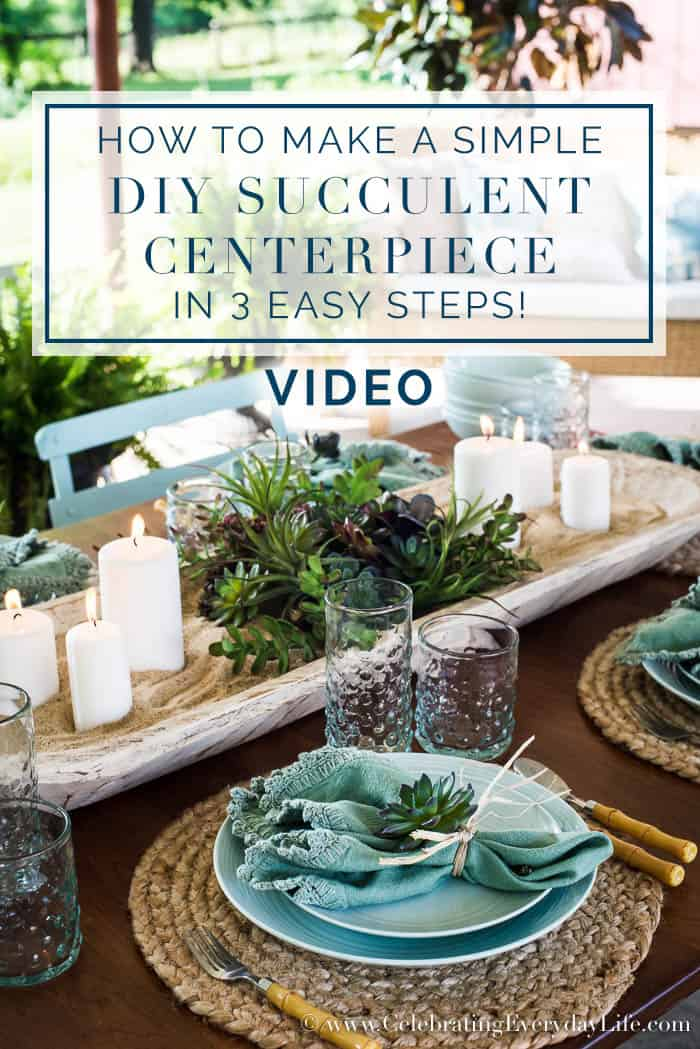 How To Make A Simple DIY Succulent Centerpiece In 3 Easy Steps video
