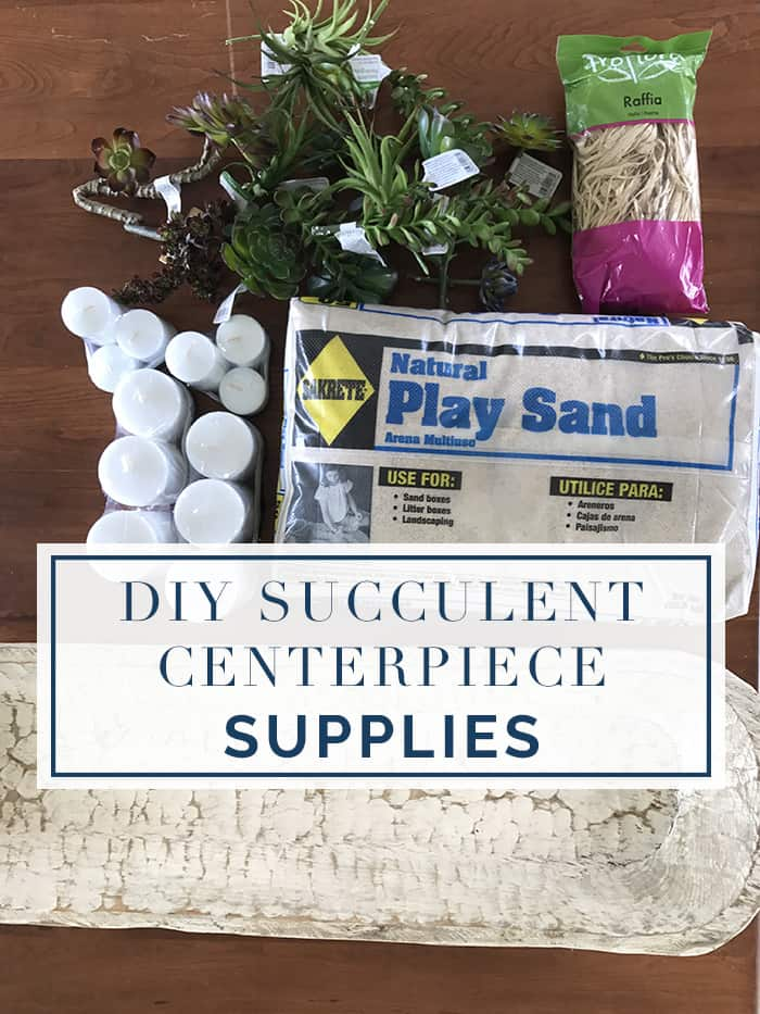 Supplies for How To Make A Simple DIY Succulent Centerpiece In 3 Easy Steps video tutorial. I'll show you how to make a magazine worthy Succulent centerpiece that looks gorgeous but is super easy! It's a relaxed summer entertaining idea at its best!