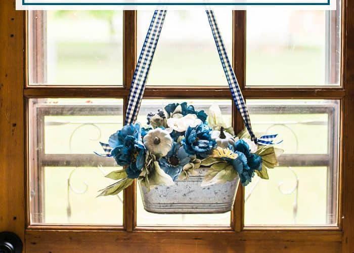 How to Make an Easy Blue & White Fall Door Decor