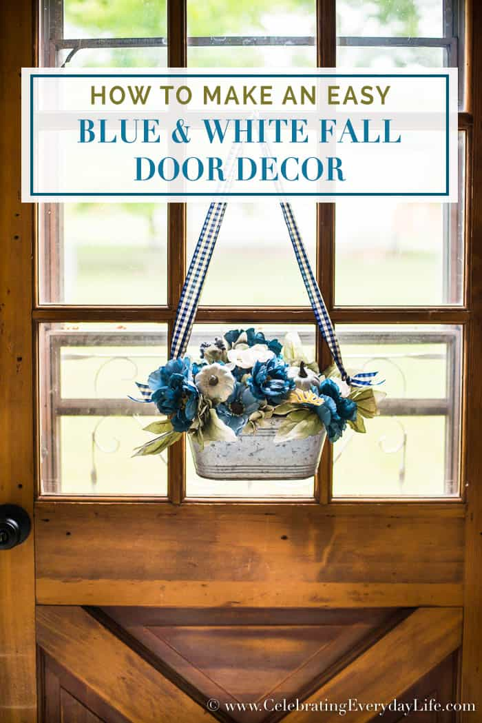 How to Make an Easy Blue And White Fall Door Decor