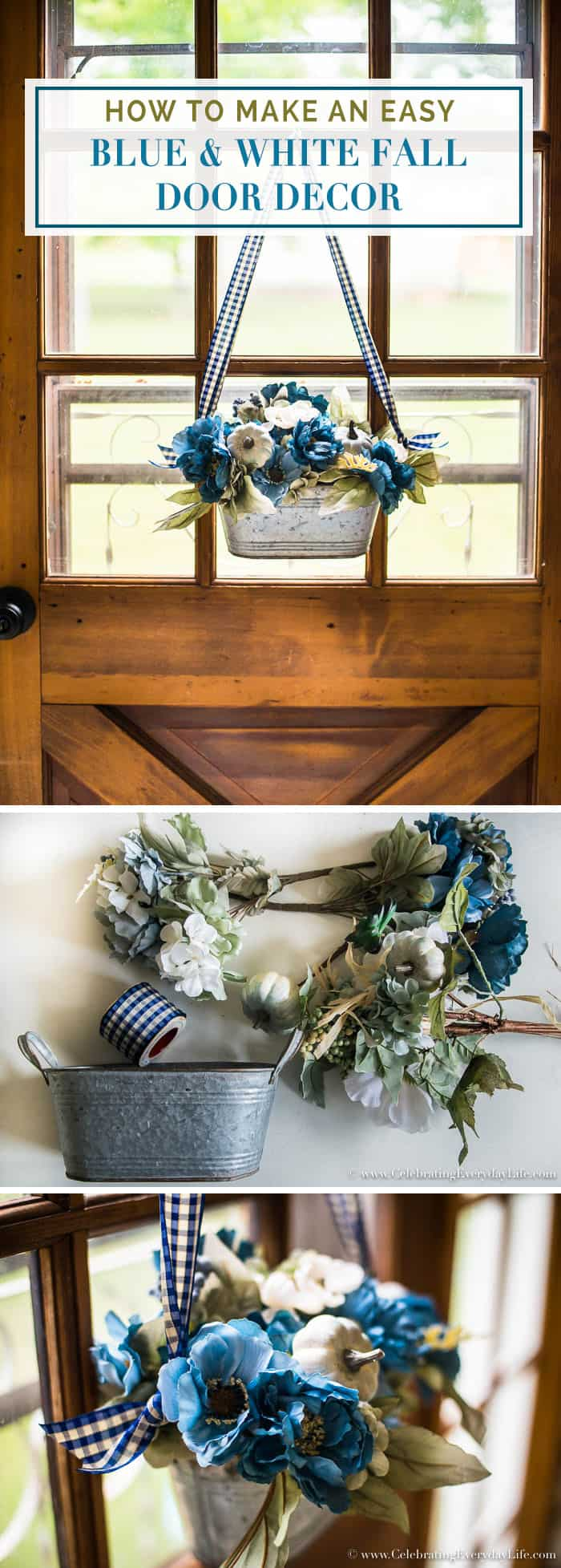 It's that time of year! Let me show you how to Make an Easy Blue And White Fall Door Decor in minutes! No special skills required!