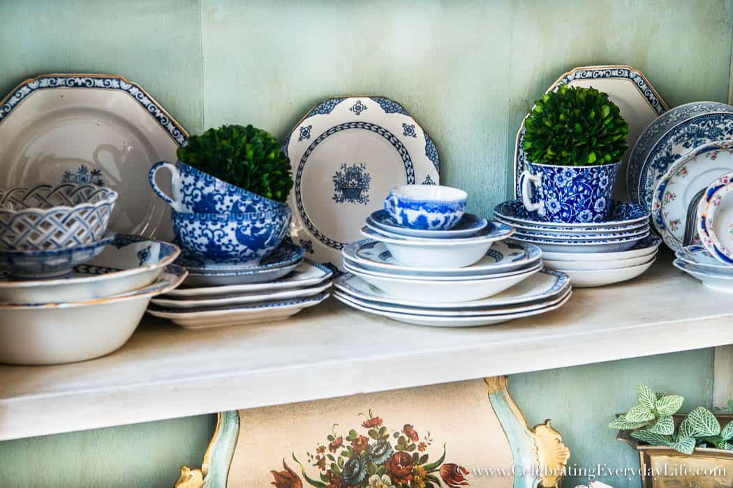 How To Quickly Spruce Up A Boring Dining Room, Blue & White China display
