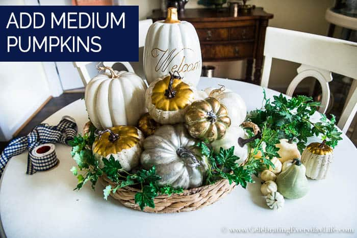 How to Make an Easy White & Gold Fall Table Display Step Four Add Medium Pumpkins