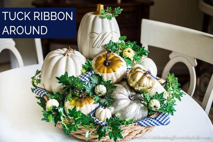 How to Make an Easy White & Gold Fall Table Display Step Six option to add Ribbon