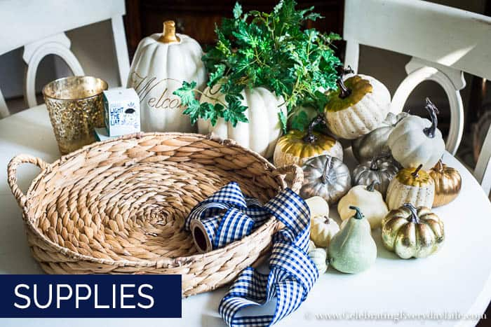 How to Make an Easy White & Gold Fall Table Display Supplies