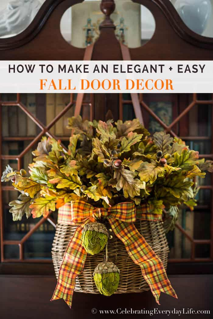 See How to Make an Elegant + Easy Fall Door Decor to add Ralph Lauren inspired style to your Fall Decor this year!!