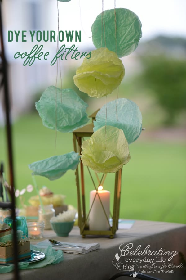 How to Dye Coffee Filters video tutorial, Dye your own coffee filters, summer entertaining ideas, summer party ideas, coffee filter garland