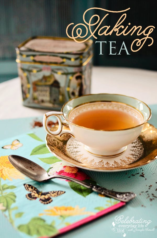 Wedgewood teacup, vintage tea tin, caspari napkin, afternoon tea