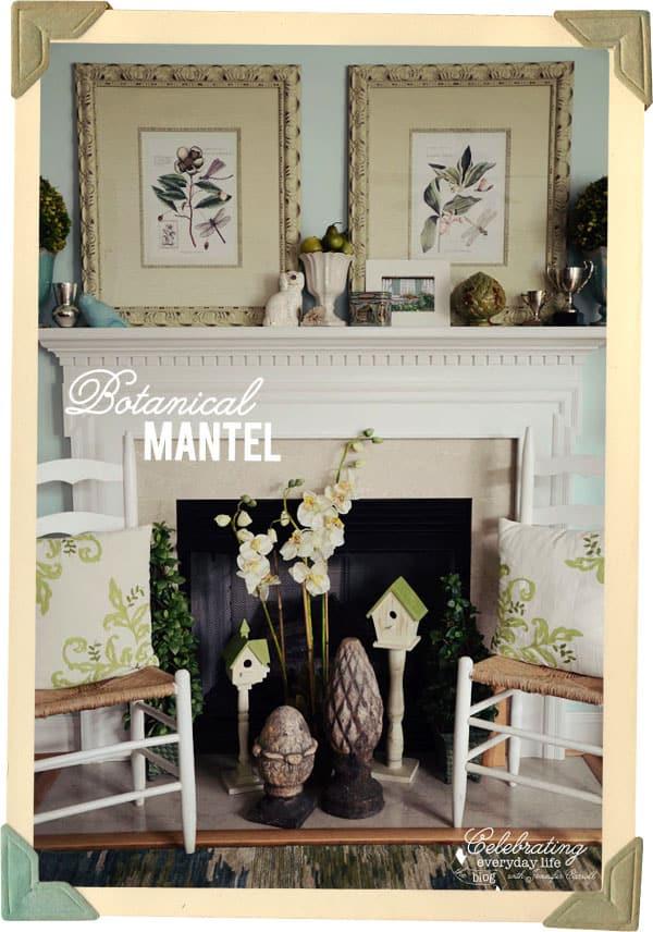 Decorating A Mantel Botanical Print Inspiration Celebrating Everyday Life With Jennifer Carroll