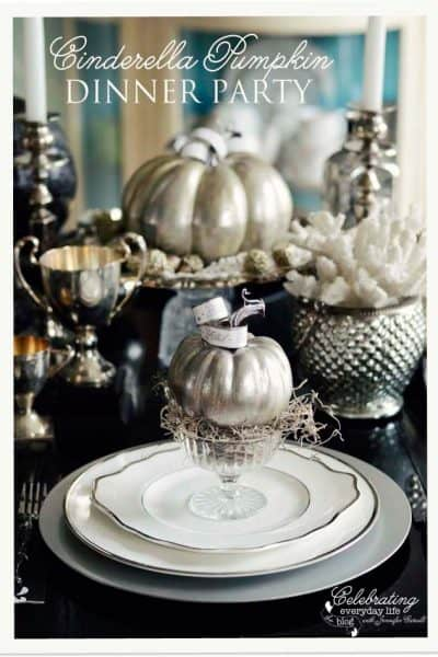 A Cinderella Inspired Elegant Halloween Dinner Party {Silver Pumpkin Decor}