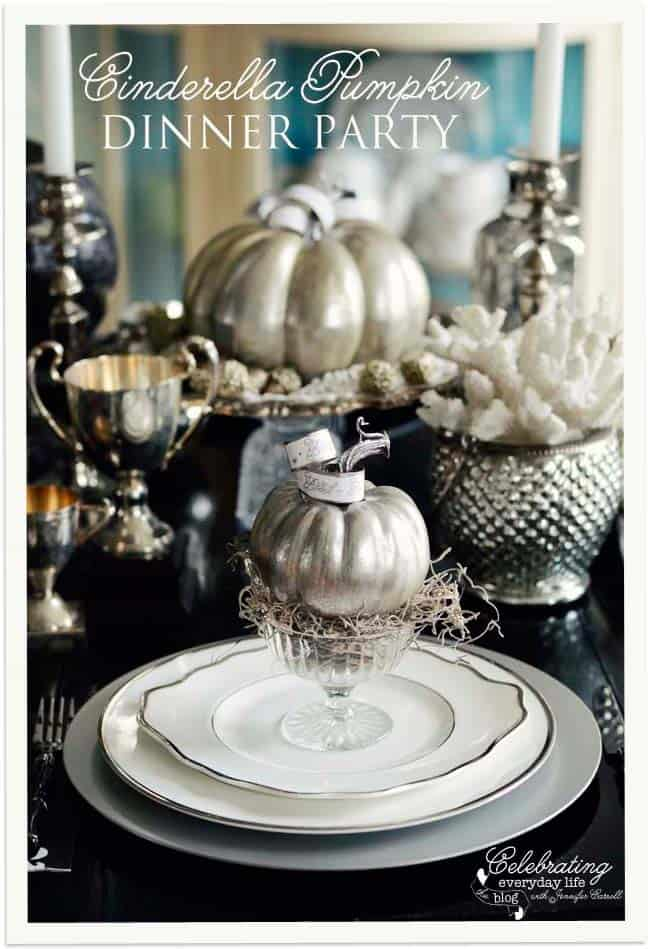 Silver Pumpkin Decorations, A Cinderella Inspired Dinner Party, Elegant Halloween Decorations
