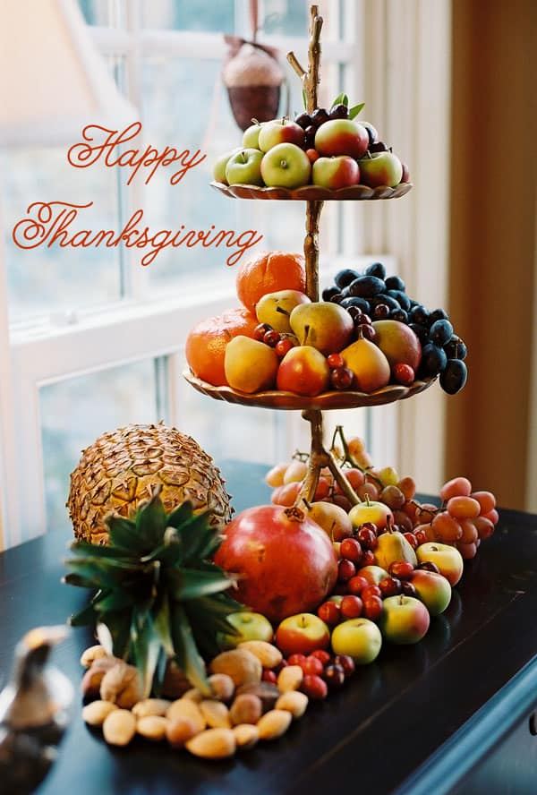 Tiered Fruit Platter, Pineapple Fruit display, Fall fruit display, horn-a-plenty alternative, Happy Thanksgiving image