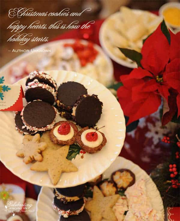 Christmas cookies and happy hearts, this is how the holiday starts quote, holiday quote, Christmas quote