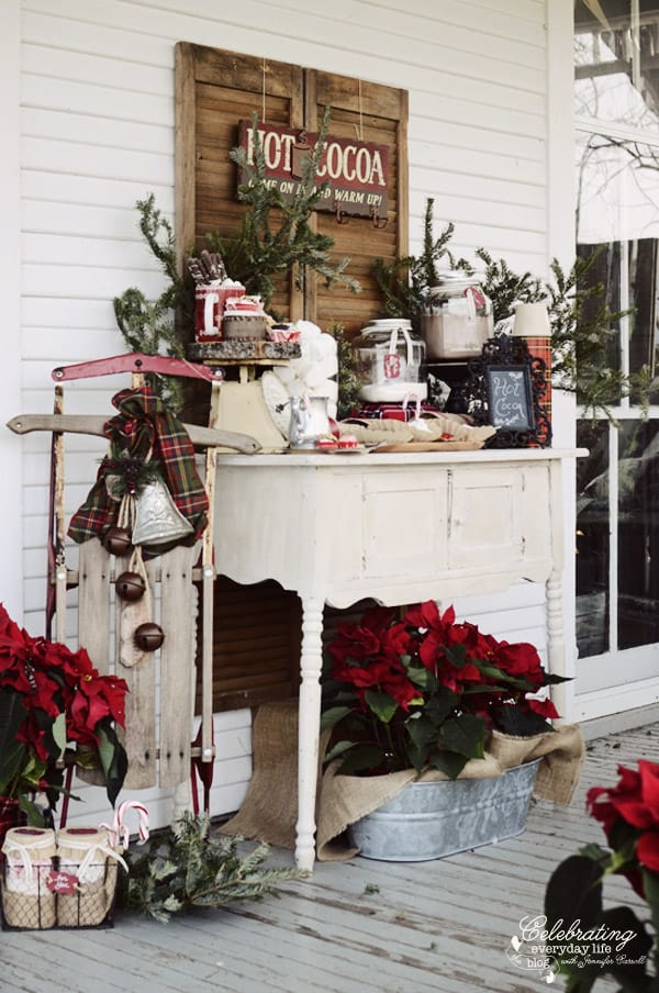 Hot Cocoa Bar, Winter Front Porch Party
