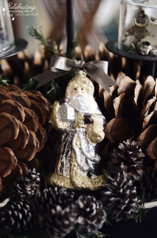 Woodland Santa, Glitter Santa, Target Santa, Santa with pinecones, santa centerpiece