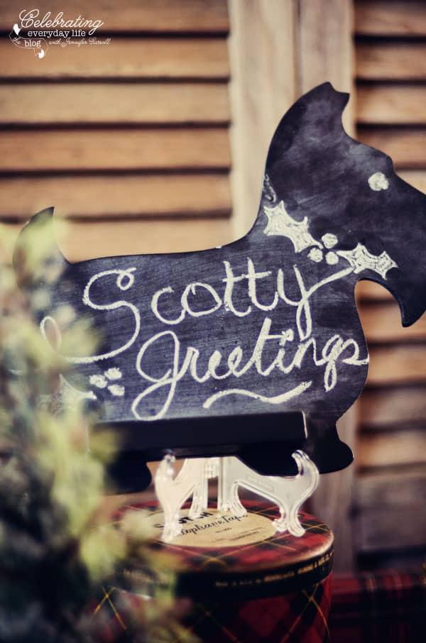 Scottie Chalk Sign, Scotty Chalk Sign, Scottish Terrier Chalk Sign