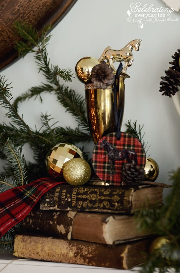 Golden trophy, horse trophy, antique books