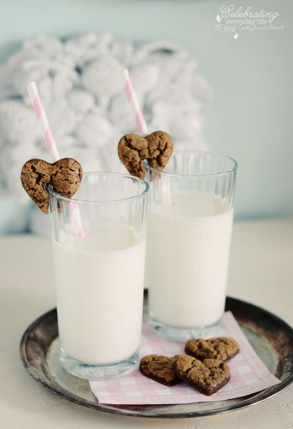 Gingerbread Hearts cookies & milk, valentine cookie treat, valentine's day