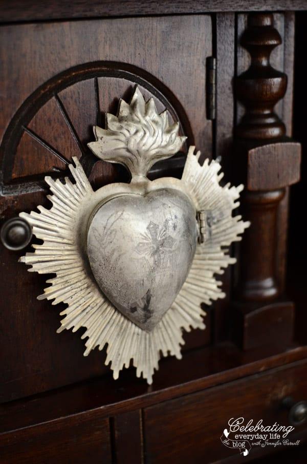 Sacred Heart Aflame Locket