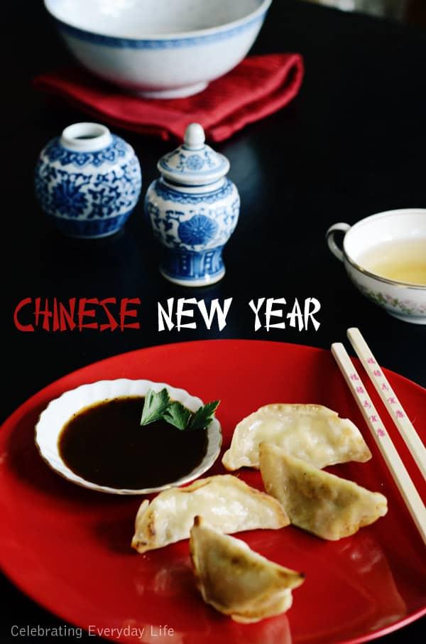 Chinese New Year, Dim-sum dumplings, mini blue ginger jars, chopsticks