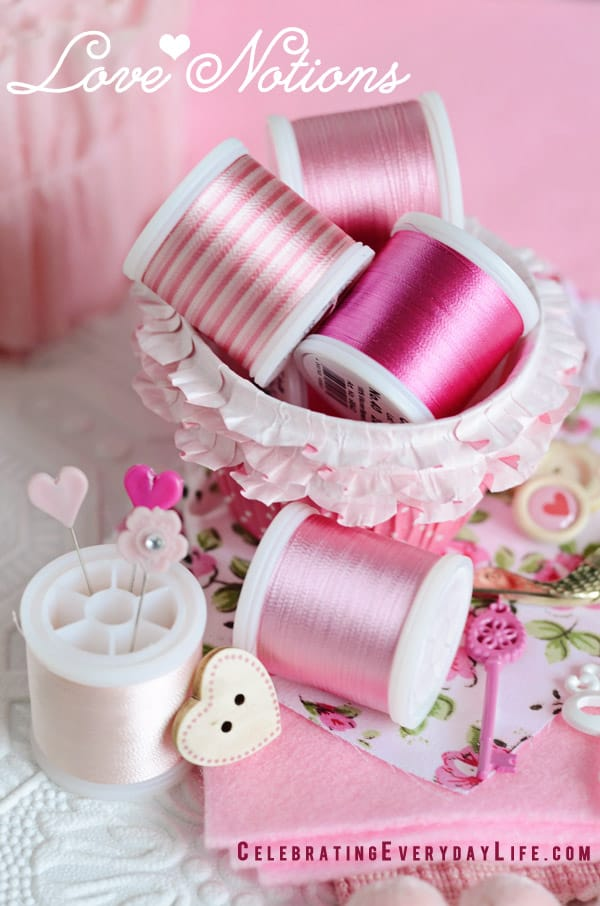 Pink Color Story, Pink Color Board, Pink Sewing Notions, Pink Threads