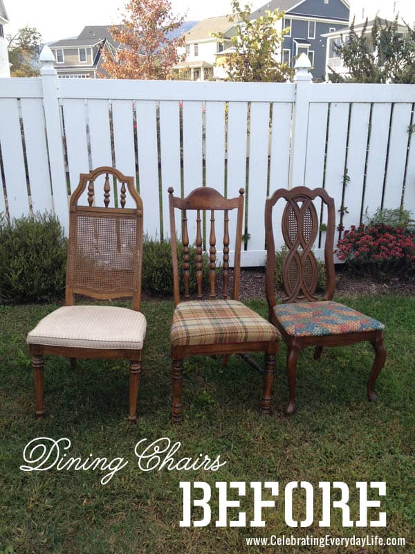 wooden chairs Before the makeover