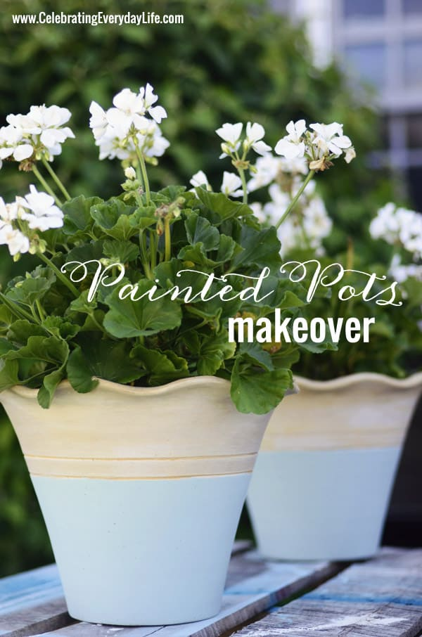 Painting Terracotta Flower Pots, Painting flower pots with Annie Sloan Chalk Paint, Scalloped Terracotta Pot from Home Depot, Annie Sloan Chalk Paint Duck Egg